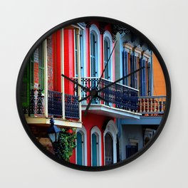 Colorful French Quarter Row Homes Wall Clock