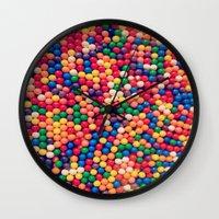 gumball Wall Clocks featuring Gumball Pop by WayfarerPrints