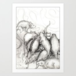 Rats Feeding on Milk Art Print