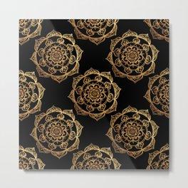 Golden Mandala Pattern Metal Print