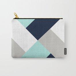 Geometric Criss Cross Navy Aqua Grey Carry-All Pouch