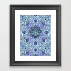 Navy Blue, Mint and Purple Boho Pattern  Framed Art Print