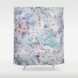 Shabby vintage pastel pink teal floral butterfly typography Shower Curtain