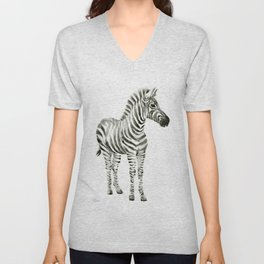Zebra Watercolor Baby Animals Unisex V-Neck