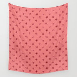 Burgundy Red on Coral Pink Snowflakes Wall Tapestry