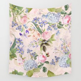 Vintage & Shabby Chic - Pink Redouté Roses Bouquets Pattern Wall Tapestry