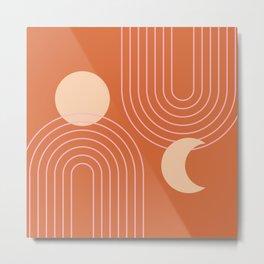 Mid Century Modern Geometric 114 in Orange Beige Pink (Rainbow and Sun Abstraction) Metal Print