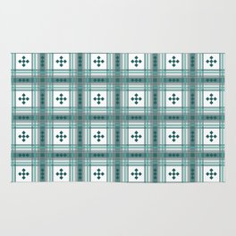 Preppy Plaid in Teal, Gray and White Rug