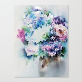 Still Life Rose Bouquet Watercolour Canvas Print