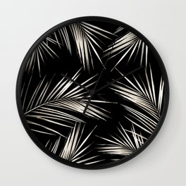White Gold Palm Leaves on Black Wall Clock