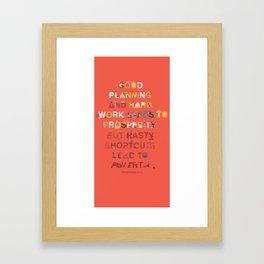 Good planning Framed Art Print
