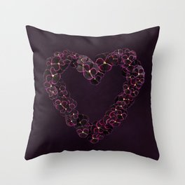 Purple Pansy Heart Throw Pillow