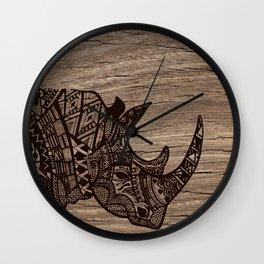 Wood Rhino Black Wall Clock