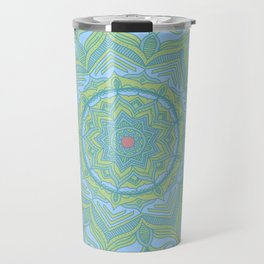Blue and Green Flower Mandala Travel Mug