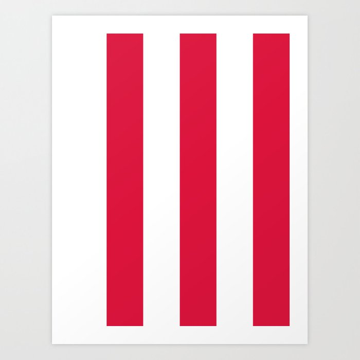 Wide Vertical Stripes White And Crimson Red Art Print By Society6