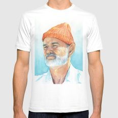 Bill Murray as Steve Zissou Portrait Art White Mens Fitted Tee LARGE