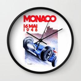 1948 Monaco Grand Prix Race Poster  Wall Clock