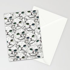 White Kitty Faces Stationery Cards