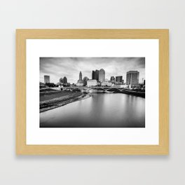 Columbus Ohio Contrasted Monochrome Framed Art Print