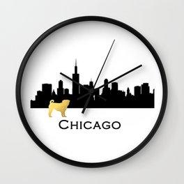 Chicago Skyline Pug in Gold Wall Clock