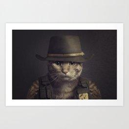 Cat in the hat Art Print