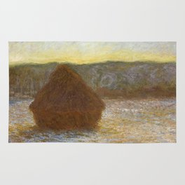 Grainstack (Sunset) by Claude Monet Rug