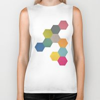 honeycomb Biker Tanks featuring Honeycomb I by Cassia Beck