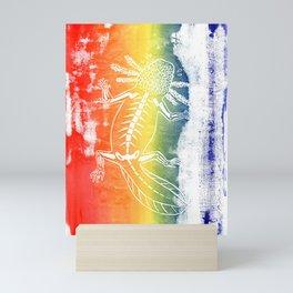 Rainbow Axolotl Monoprint Mini Art Print