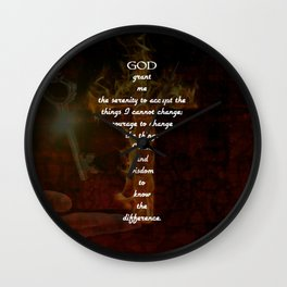 Serenity Prayer Inspirational Quote With Beautiful Christian Art Wall Clock