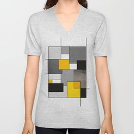 Black Yellow and Gray Geometric Art Unisex V-Neck
