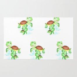 turtle baby and mom, nautical wall decor, ocean themed nursery, sea turtle, sea animals watercolor Rug