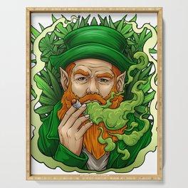 Leprechaun Smoking Weed St Patrick's Day Funny print Serving Tray