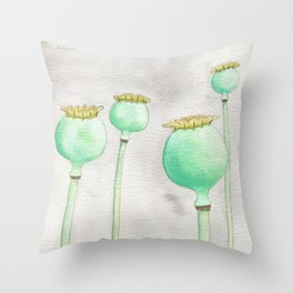 Four Poppy Pods Throw Pillow
