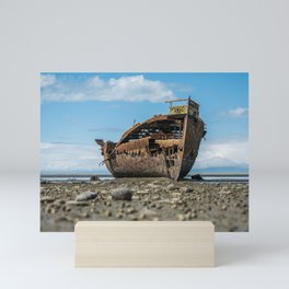 Shipwreck on a Rocky Shore Mini Art Print