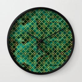 Gold Chinese Double Happiness Symbol pattern on malachite Wall Clock