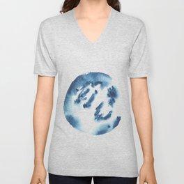 Watercolor Circle Abstract Simple | Blue Blob May 32 Unisex V-Neck