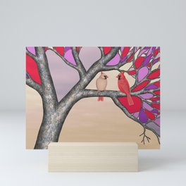 northern cardinals in the stained glass tree Mini Art Print