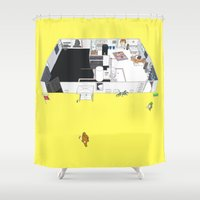 dark side Shower Curtains featuring DARK SIDE IS VACANCY by kasi minami