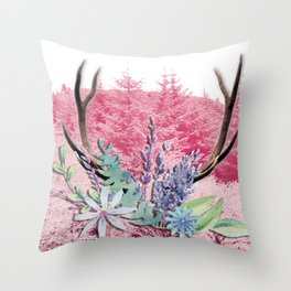 Floral stag antlers Throw Pillow