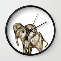 baby elephant Wall Clocks featuring Baby Elephant by James Peart