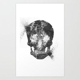 RIP White Skull Art Print