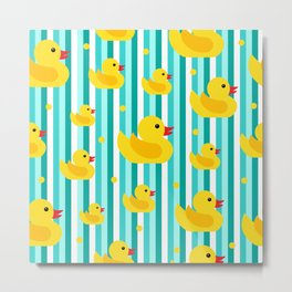 Yellow Rubber Ducks on Blue Stripes Pattern Metal Print