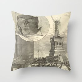 Construction of The Statue of Liberty Illustration Throw Pillow