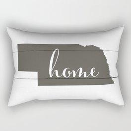 Nebraska is Home - Charcoal on White Wood Rectangular Pillow