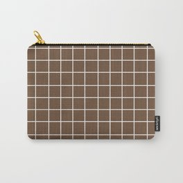 Grid (White/Coffee) Carry-All Pouch