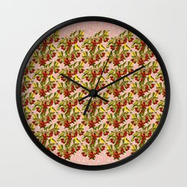 Birds in Cherry tree's on pink blossoms Wall Clock
