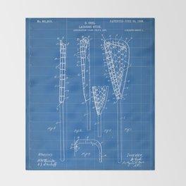 Lacrosse Stick Patent - Lacrosse Player Art - Blueprint Throw Blanket