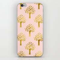 gold foil iPhone & iPod Skins featuring Pink Gold Foil 02 by Aloke Design