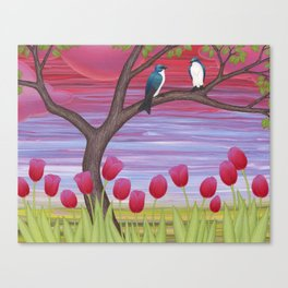 tree swallows & tulips at sunrise Canvas Print
