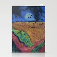 calvin and hobbes Stationery Cards featuring Crows Over A Wheat Field and Calvin by Sharon Marta